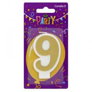 Party Candle Metallics Number 9