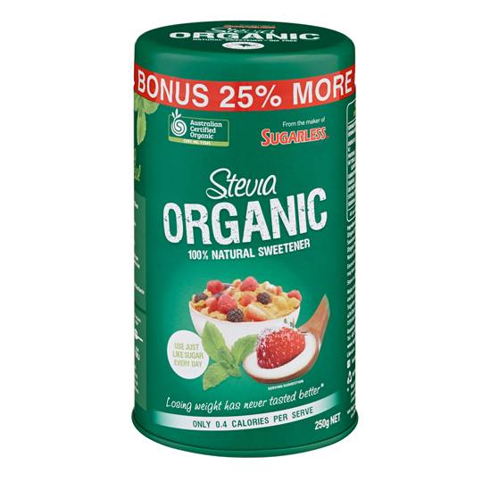 Sugarless Stevia Organic Natural Sweetener Canister