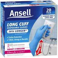 Ansell Gloves Long Cuff Disposable