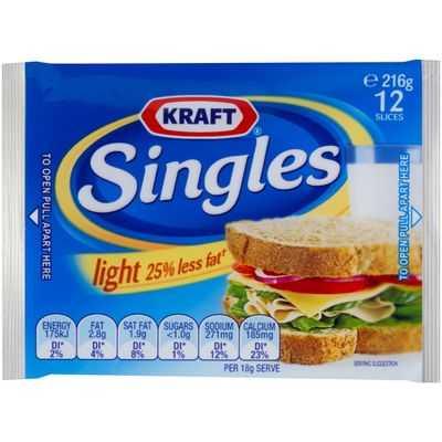 Kraft Cheese Slices Singles Light 25% Less Fat