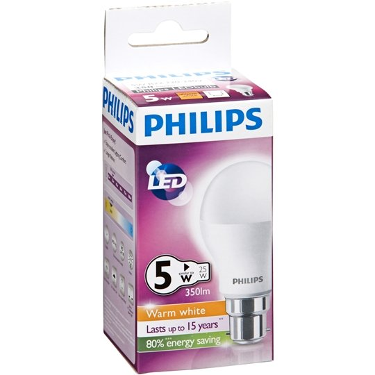 Philips Led Globe Warm White 350 Lumen Bc Base