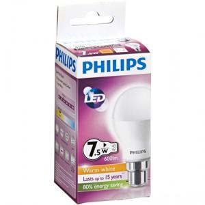 Philips Led Globe Warm White 600 Lumen Bc Base