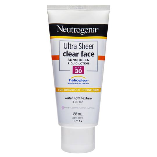 Neutrogena Spf 30+ Sunscreen Ultra Sheer Clear Face