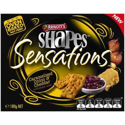 Arnott's Shapes Sensations Snacks Onion & Cheddar