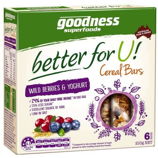 Goodness Better For U Wild Berries & Yoghurt Cereal Bars
