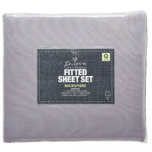 Inspire Plain Microfibre Fitted Sheet Set Queen Bed