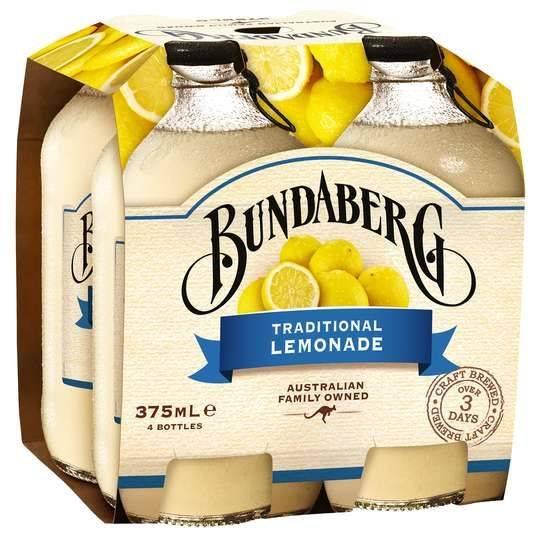 Bundaberg Traditional Lemonade 4x375ml