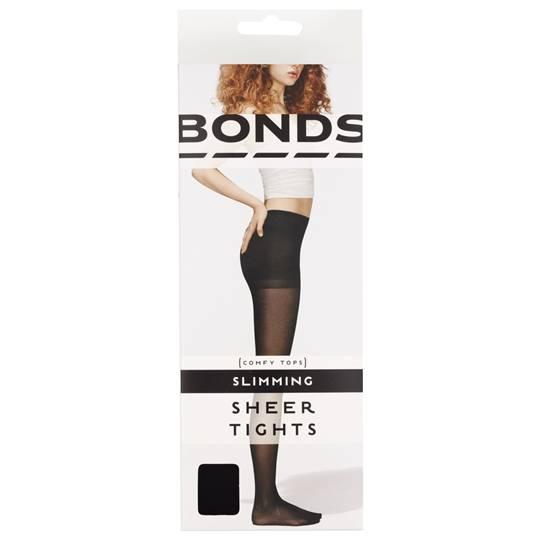 Bonds Comfy Tops Slimming Sheer Tights Black Lge