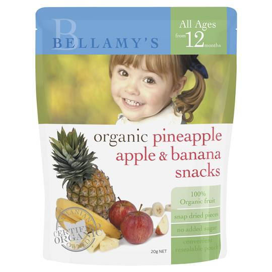 Bellamy's Organic Pineapple, Banana & Apple Snack From 12mnths+