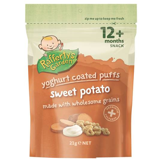 Rafferty's Garden Yoghurt Coated Puffs Sweet Potato Snack 12 Months+