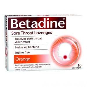 Betadine Sore Throat Lozenges Orange