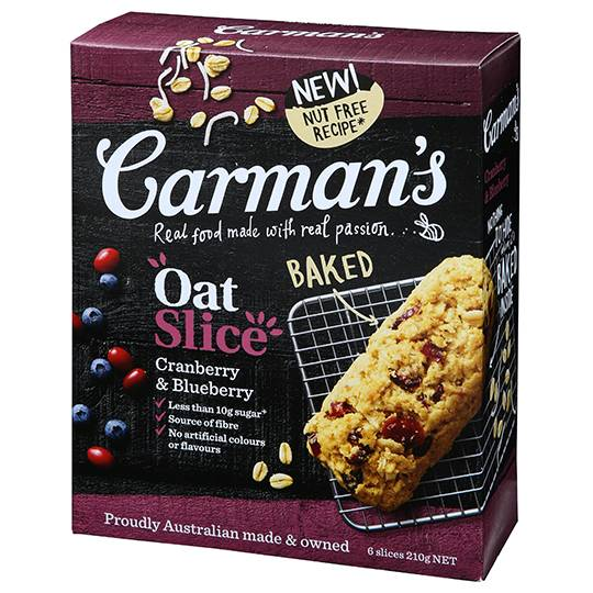 Carman's Cranberry & Blueberry Oat Slice