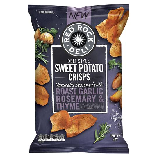 Red Rock Deli Sweet Potato Crisps Roast Garlic Rosemary & Thyme