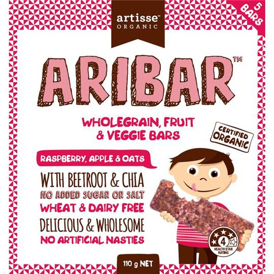 Artisse Organic Aribar Wholegrain Bars Raspberry Apple & Oats