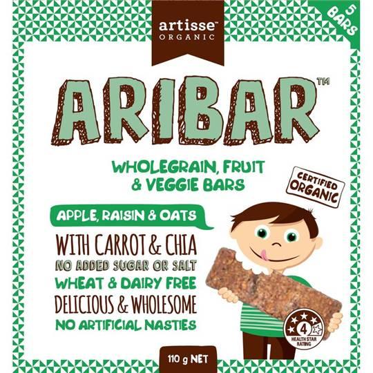 Artisse Organic Aribar Wholegrain Bars Apple Raisin & Oats