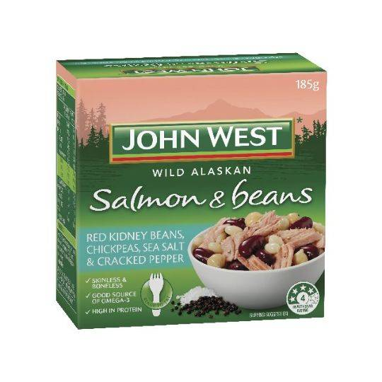 John West Salmon Beans Sea Salt Cracked Pepper