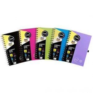 Spirax 3 Subject Notebook A5 Assorted Colours