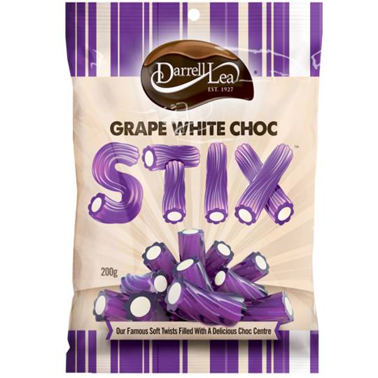 Darrell Lea Licorice Choc Stix Grape White Chocolate