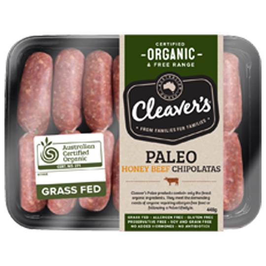 Cleavers Organic Paleo Honey Beef Chipolata