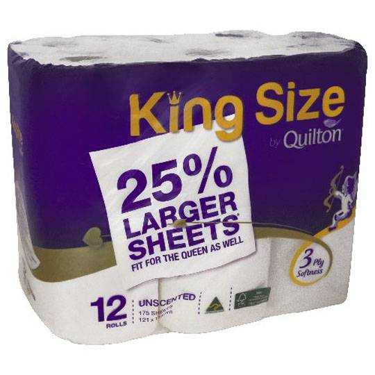 Quilton Toilet Tissue King Size Unscented 3ply