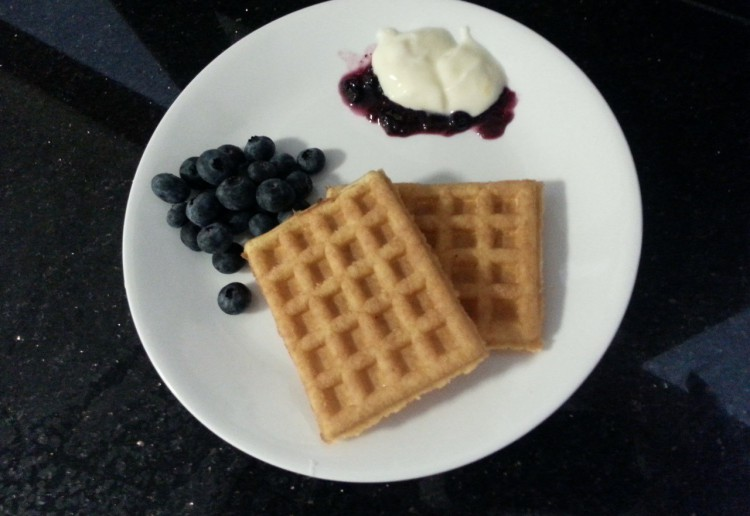 Cheat's Waffles with blueberries and yoghurt.