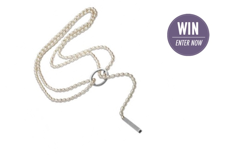 WIN 1 of 2 sterling silver white pearl wrap necklace