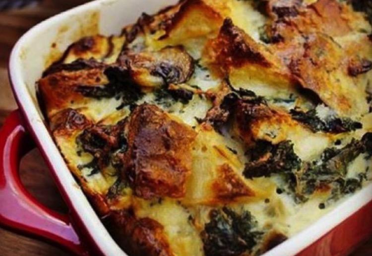 Kale and Mushroom Bread Bake