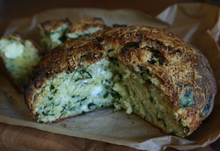 spinach & feta damper