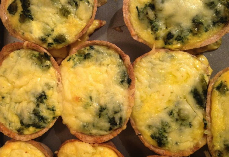 Spinach and Pea Cheat Mini Quiche