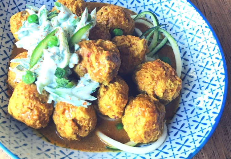 Chicken Dinner Ideas - make your chicken tikka masala into meatballs for a change and serve on some zucchini noodles