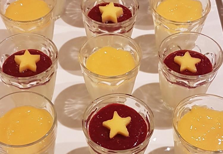 Panna Cotta with raspberry & mango puree