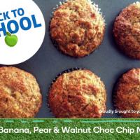 Banana, pear & walnut choc chip muffins