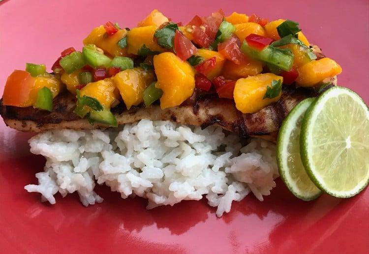 Lime & Garlic Chicken with Mango Salsa & Coconut Rice