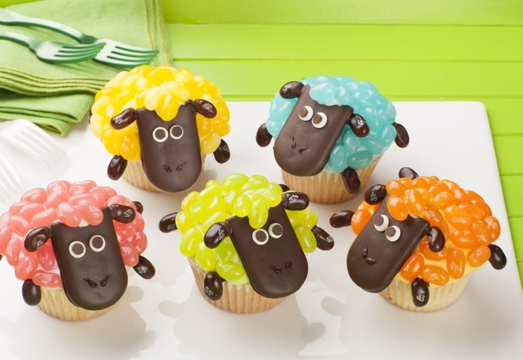 Easter Jelly Belly Sheep Cupcakes