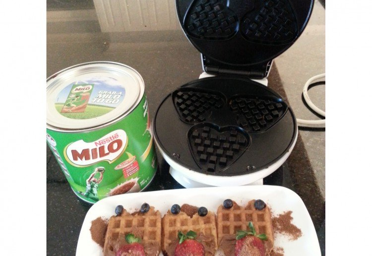 Golden Waffles with Milo Cream Cheese topping.