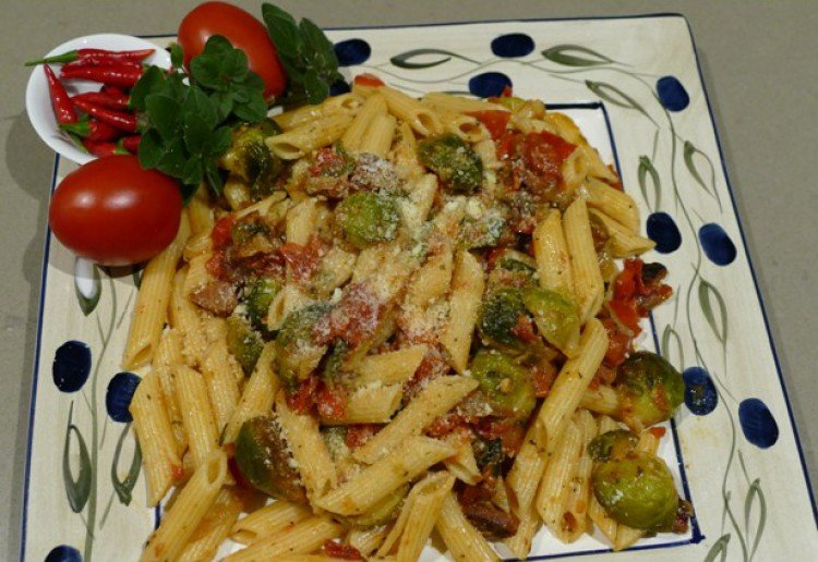 Chilli Chorizo pasta with Brussels sprouts