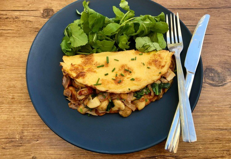 Mushroom, Spinach & Ham omelette