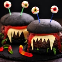 Charcoal Turkey Burger Monsters For Halloween