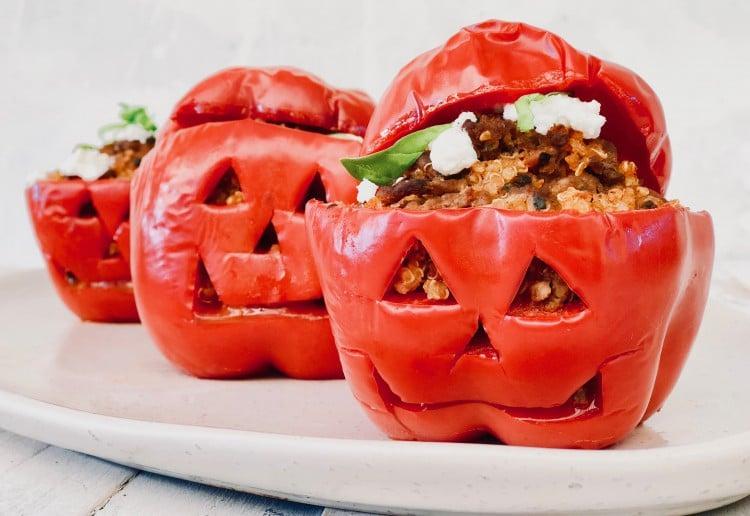 Wholesome Child's Halloween Quinoa & Beef Stuffed Capsicums