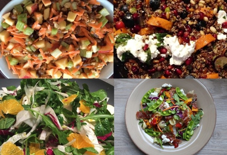Easy Salad Recipes displayed in a collage featuring lots of lovely fresh salads