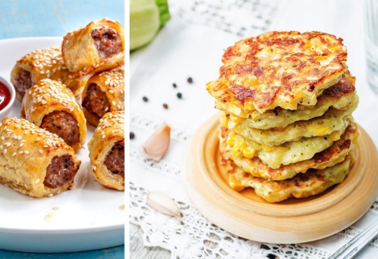 school lunch ideas like sausage rolls and fritters are perfect for kids who don't like sandwiches