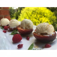 Grilled Nectarines with Vanilla Ice Cream & Maple syrup