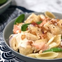 Crispy Onion and Hot Smoked Salmon Pasta