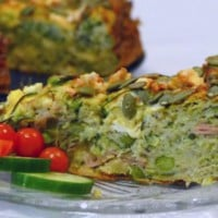 Zucchini Slice with Fetta and Peas