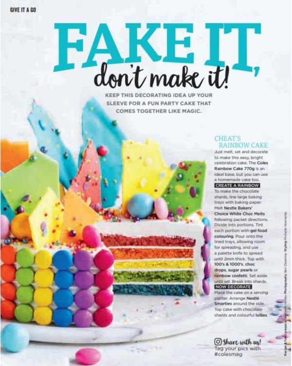 coles rainbow cake