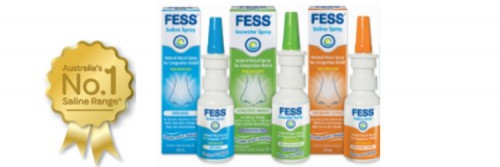 FESS range of saline sprays with gold ribbon award for the Fess Review page