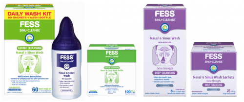 FESS Product Range for the FESS® SINU-CLEANSE Nasal & Sinus Mist Review page