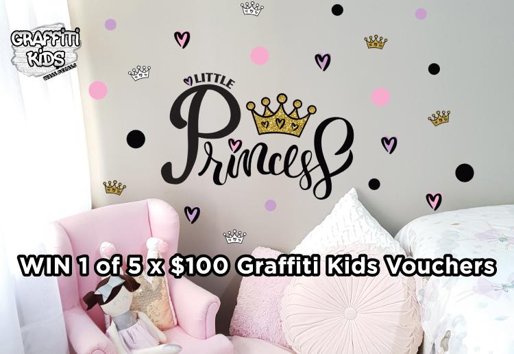 Win 1 of 5 x $100 Graffiti Kids Wall Decal Vouchers