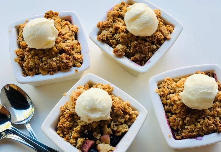 Individual Apple and Blueberry Crumble