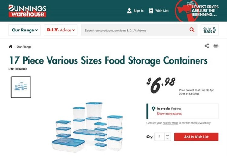 Kmart And Bunnings Have Joined In The Plastic Container War